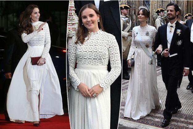 Kate Middleton le 3 novembre 2016. La princesse Ingrid Alexandra de Norvège le 31 août 2019. La princesse Sofia de Suède le 14 juin 2019