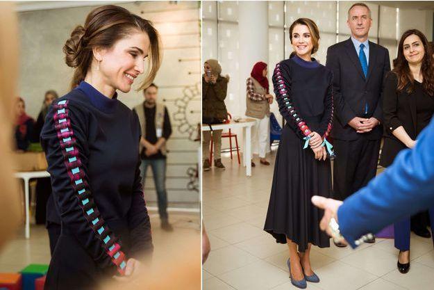 La reine Rania de Jordanie à Amman, le 27 février 2018