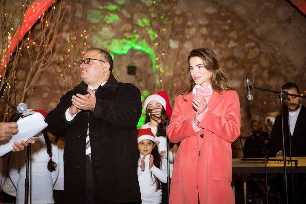 La reine Rania de Jordanie à Fuheis, le 16 décembre 2018