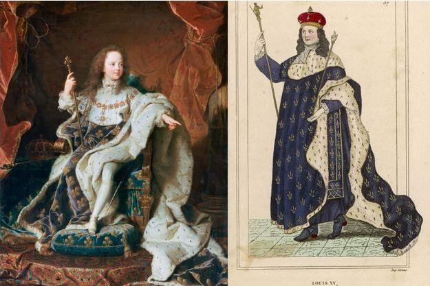 Le roi Louis XV portrait par Hyacinthe Rigaud lors de son sacre à 5 ans et gravure le figurant, non datée