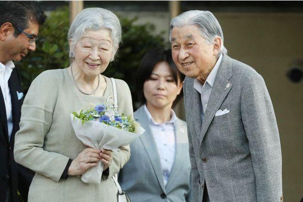 L'impératrice et l'empereur émérites du Japon Michiko et Akihito à Tokyo, le 5 mai 2019