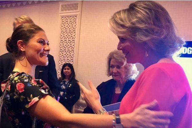 La princesse Victoria de Suède et la reine des Belges Mathilde à New York, le 23 septembre 2018
