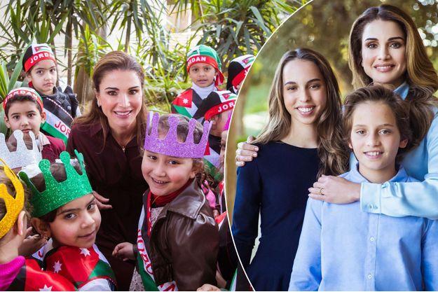 La reine Rania de Jordanie à Amman, le 6 février 2018. A droite, avec la princesse Iman et le prince Hashem.