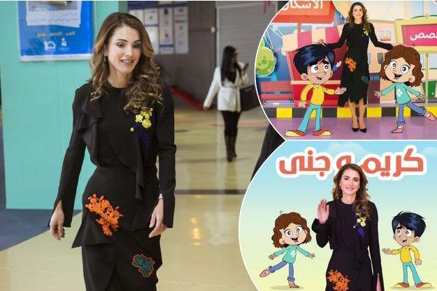 La reine Rania de Jordanie le 4 décembre 2017. En vignette, Rania dans une vidéo pour une appli éducative