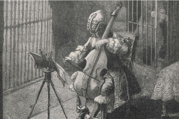 Gravure figurant le Masque de fer dans sa prison
