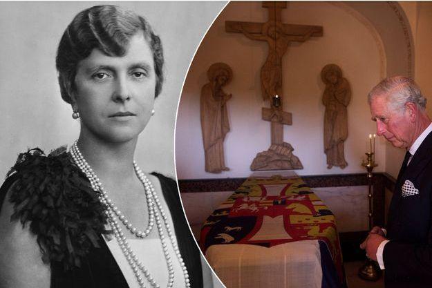 La princesse Alice de Grèce, née de Battenberg, mère du prince Philip, en 1927. A gauche, le prince Charles sur sa tombe à Jérusalem le 30 septembre 2016