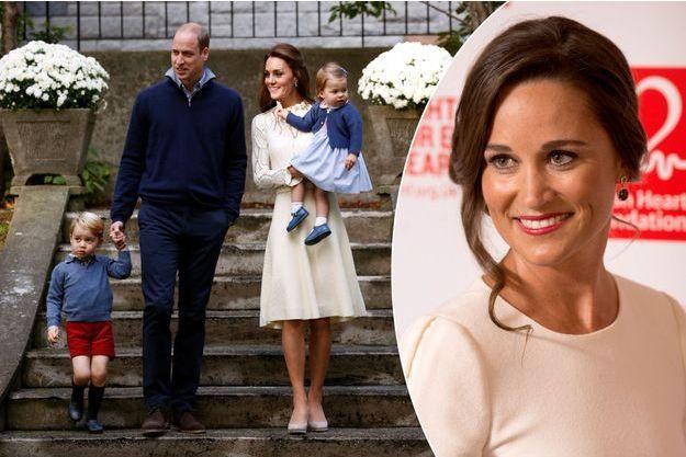 Le prince George et la princesse Charlotte avec leurs parents Kate et William le 29 septembre 2016 - Pippa Middleton le 11 février 2016