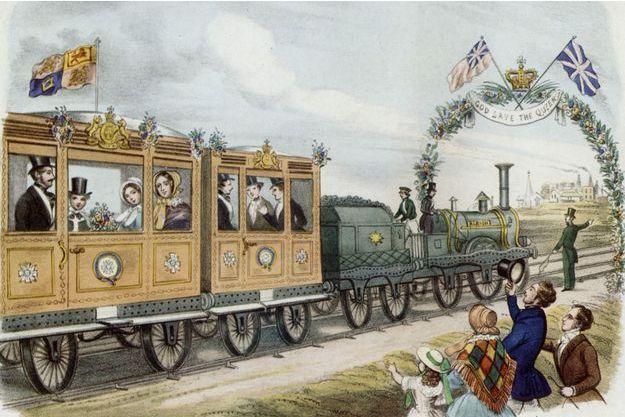 Gravure représentant la reine Victoria et sa famille allant en train en Ecosse dans les années 1840