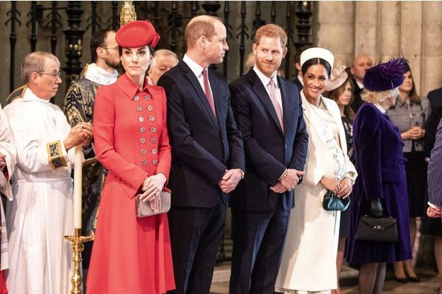 Kate Middleton, le prince William, le prince Harry et Meghan Markle à l'abbaye de Westminster à Londres le 11 mars 2019