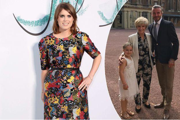 La princesse Eugenie d'York, le 28 juin 2017 - A droite : David Beckham avec sa mère et sa fille Harper dans la cour de Buckingham Palace en juillet 2017