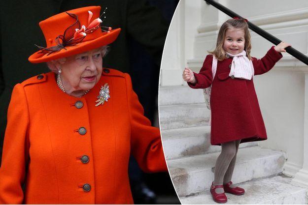 La reine Elizabeth II à Sandringham le 25 décembre 2017. A droite, la princesse Charlotte de Cambridge le 9 janvier 2018