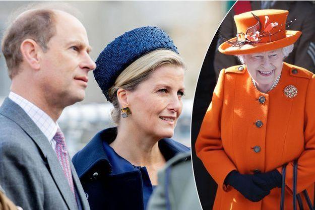 Le prince Edward et sa femme Sophie de Wessex le 24 octobre 2018 - La reine Elizabeth II le 7 mars 2019