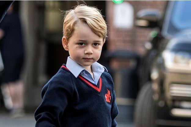 Le prince George de Cambridge le jour de sa première rentrée scolaire à Londres, le 7 septembre 2017