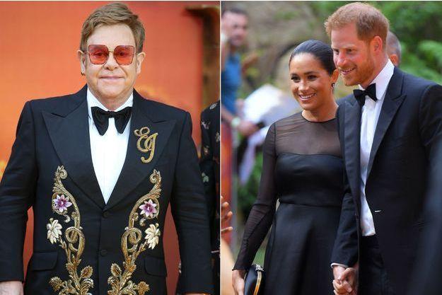 """Meghan Markle, le prince Harry et Elton John à la première du """"Roi Lion"""" à Londres le 14 juillet 2019"""