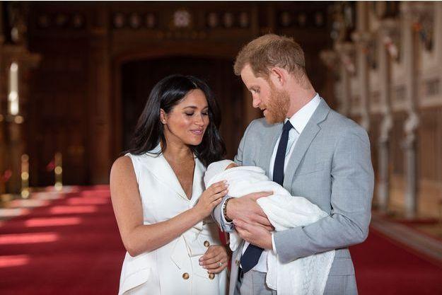 Meghan Markle, le prince Harry et leur fils Archie au château de Windsor, le 8 mai 2019