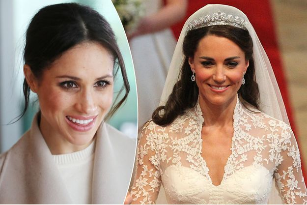Meghan Markle le 23 mars 2018. Kate Middleton portant la Cartier Halo Scroll Tiara le 29 avril 2011