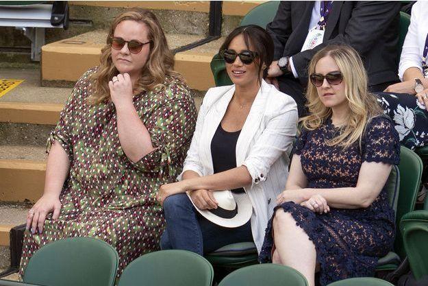 Meghan Markle, Genevieve Hills et Lindsay Roth à Wimbledon, le 4 juillet 2019