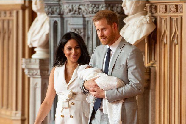 Meghan Markle, le prince Harry et leur fils Archie à Windsor, le 8 mai 2019