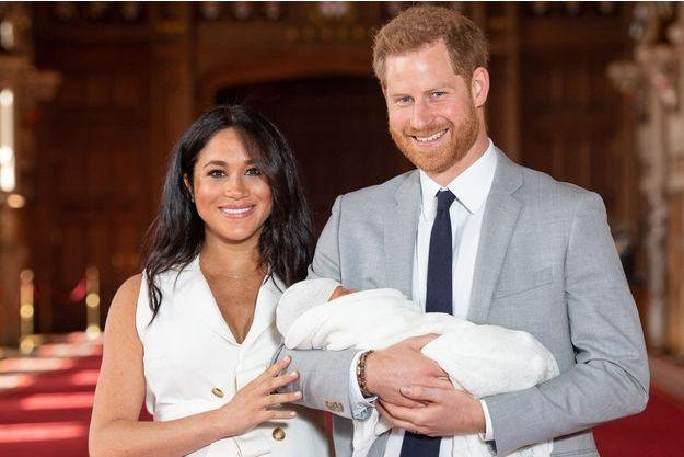 Meghan Markle au côté du prince Harry et de leur fils Archie le 8 mai 2019 à Windsor