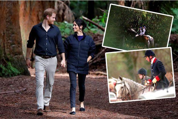 Harry et Meghan dans une forêt néo-zélandaise, fin octobre. En médaillon, William et Harry participent à une chasse à l'automne 1994; Harry et Charles à la chasse en février 1995.