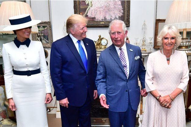 Le prince Charles et la duchesse de Cornouailles Camilla avec Donald et Melania Trump à Clarence House à Londres, le 3 juin 2019