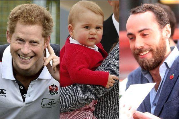 Le prince George entre ses deux oncles cools, le Prince Harry et James Middleton.