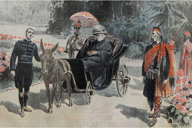 """Gravure montrant la reine Victoria en promenade dans le parc de l'hôtel de Cimiez, parue dans """"Le Pèlerin"""" du 26 mars 1899"""