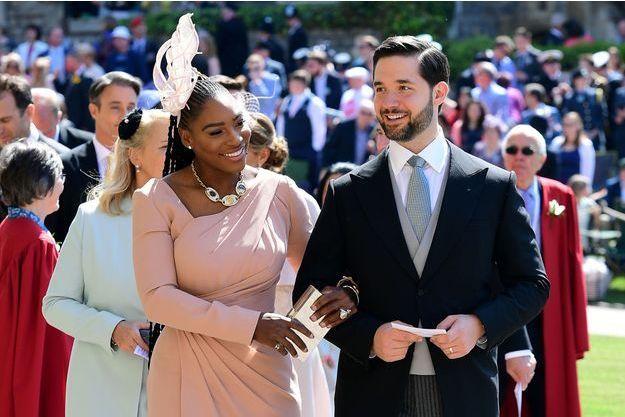 Serena Williams et son mari Alexis Ohanian lors du mariage de Meghan Markle et Harry, le 19 mai 2018