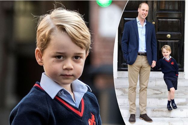 Le prince George, premier jour à l'école à Londres le 7 septembre 2017. En vignette, portrait devant Kensington Palace avec le prince William