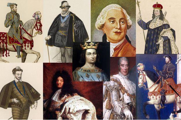 De gauche à droite, en haut : Henri II, Henri IV, Louis XVI, Louis XV. Au centre : Louis IX. De gauche à droite en bas : Henri III, Louis XIV, Charles X, François Ier.