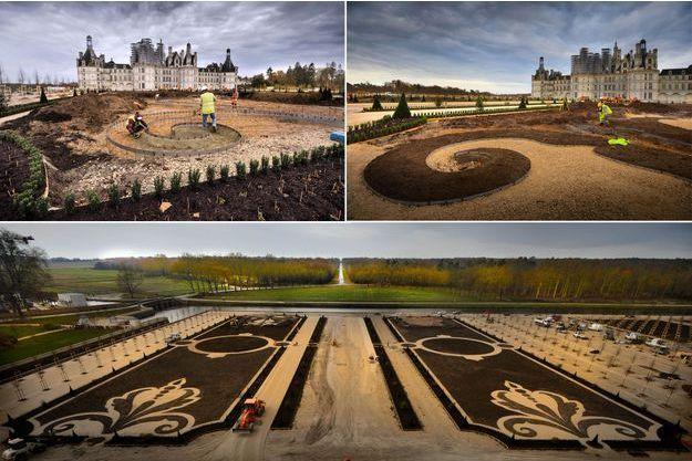 Travaux de restauration des jardins à la française du château de Chambord, le 23 novembre 2016