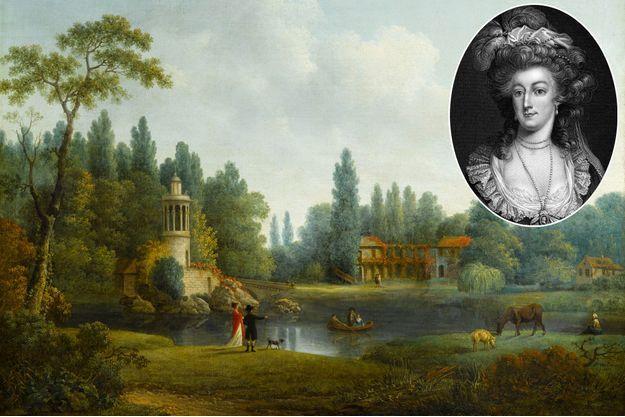 Le Hameau de la Reine à Versailles, tableau de Pierre-Joseph Wallaert en 1803 (châteaux de Versailles et de Trianon) – En médaillon: Marie-Antoinette, gravure vers 1780