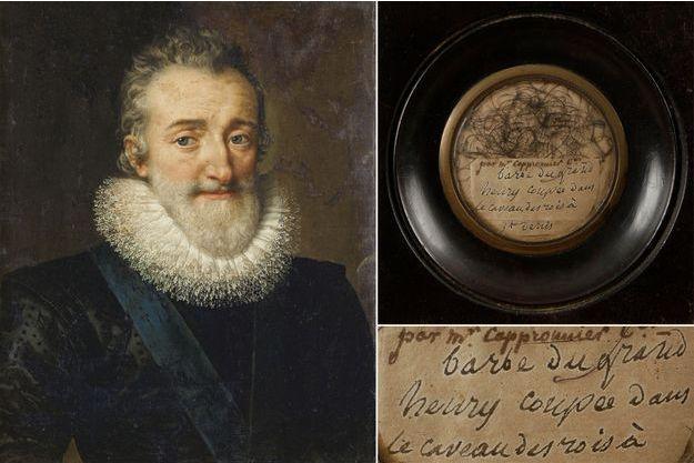 Portrait d'Henri IV par Frans Pourbus dit le Jeune, 1610 (collection privée) – Poils de barbe attribués à Henri IV, vendus aux enchères le 19 septembre 2019 par la Maison Ader