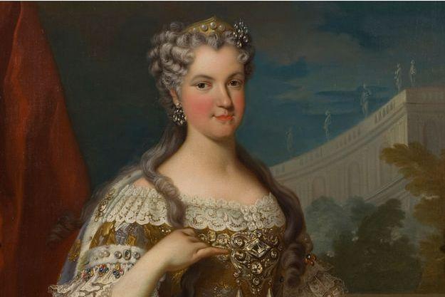 Détail d'un portrait de Marie Leszczynska (Nationalmuseum Stockholm)