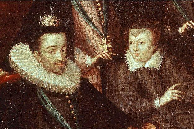 Le roi Henri III, avec sa mère Catherine de Médicis. Détail d'un tableau de l'école française, XVIe siècle, figurant le mariage du duc de Joyeuse.