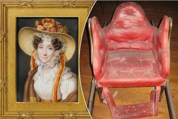 Portrait de Madame Adélaïde, soeur du roi Louis-Philippe - La chaise à porteurs de Madame Adélaïde, collections du château de Fontainebleau