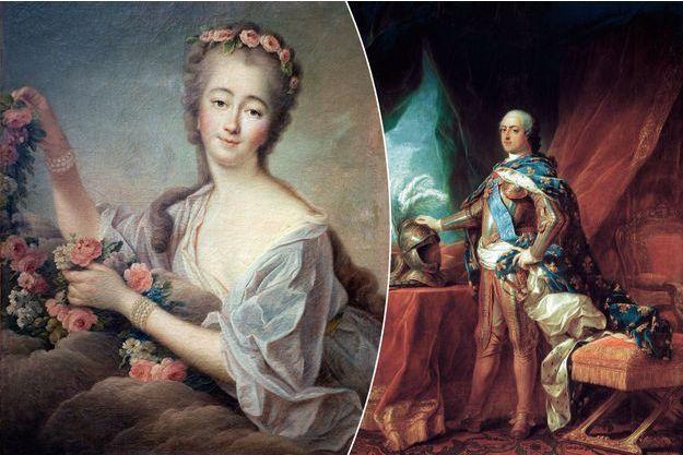 Portrait de Madame du Barry par Francois Hubert Drouais en 1774 (musée des Beaux-Arts d'Agen) – Portrait de Louis XV par Carle van Loo, 1751 (Versailles, châteaux de Versailles et de Trianon)