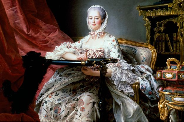 Portrait de Madame de Pompadour en 1763-1764, par Francois-Hubert Drouais, conservé à la National Gallery à Londres (détail)