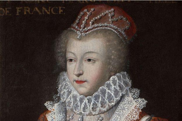 """Détail du portrait de """"Marguerite de Valois, dite la reine Margot"""", d'après Clouet, conservé au château de Blois"""