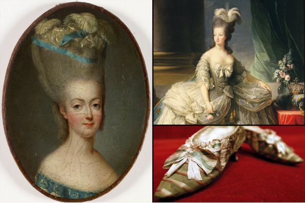 Portrait de Marie-Antoinette vers 1776 par Jean-Marie Ribou - A droite en haut: portrait de Marie-Antoinette par Elisabeth Vigée-Lebrun en 1778. A droite en bas: chaussures ayant appartenu à la reine Marie-Antoinette, vendues aux enchères à Drouot à Pris en 2012