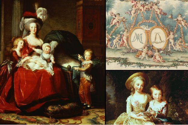 """""""Marie-Antoinette et ses enfants"""" par Elisabeth Vigée-Lebrun, 1787 - À droite en haut: détail du couvercle du coffre à layette du dauphin Louis Joseph - À droite en bas : """"Portrait des deux enfants aînés de la reine"""" par Elisabeth Vigée-Lebrun, 1784"""