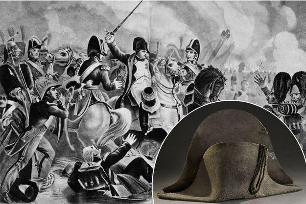 Gravure figurant l'empereur Napoléon Ier à Waterloo. En vignette, le bicorne qui sera vendu à Lyon le 18 juin 2018