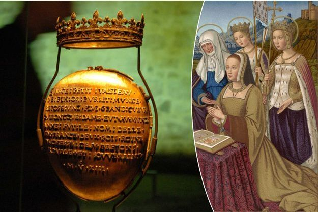L'écrin du cœur d'Anne de Bretagne à Nantes en 2007. A droite, Anne de Bretagne - miniature tirée des ''Grandes Heures d'Anne de Bretagne'' (Bibliothèque nationale Paris)