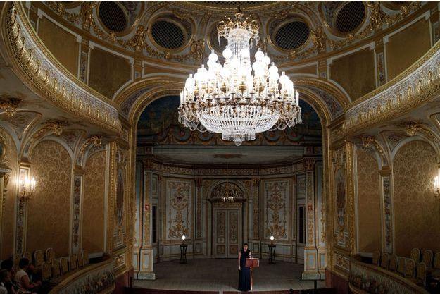 """Le """"Théâtre Impérial - Théâtre Cheikh Khalifa bin Zayed al Nahyan"""" du château de Fontainebleau, le 18 juin 2019 jour de l'inauguration de sa restauration"""