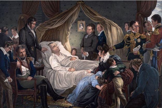 """""""Mort de Napoléon"""" par Charles de Steuben. Lithographie (collection privée)"""