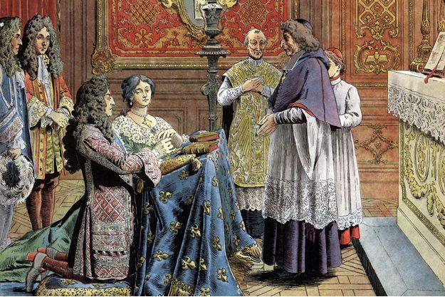 Le mariage secret de Louis XIV et de Madame de Maintenon au château de Versailles (détail). Illustration de Maurice Leloir en 1904