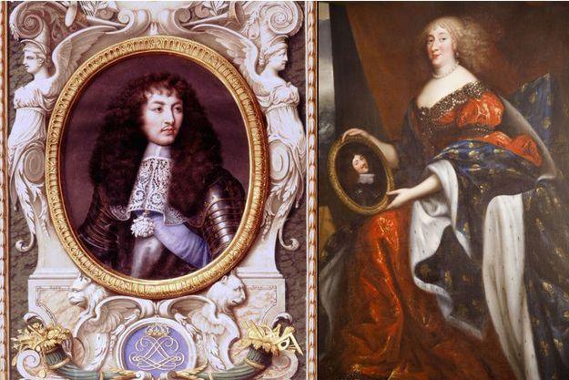 Portrait d'Anne Marie Louise d'Orléans, dite la Grande Mademoiselle (château de Chambord) - A gauche: son cousin Louis XIV