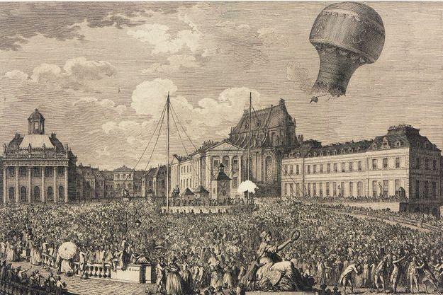 Vol de la première montgolfière, avec à son bord un coq, un mouton et un canard, devant le château de Versailles en présence de Louis XVI, le 14 septembre 1783.