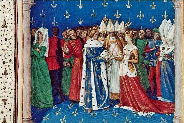 Mariage de Charles IV et de Marie de Luxembourg. Grandes Chroniques de France. Paris. BnF. XVe siècle.