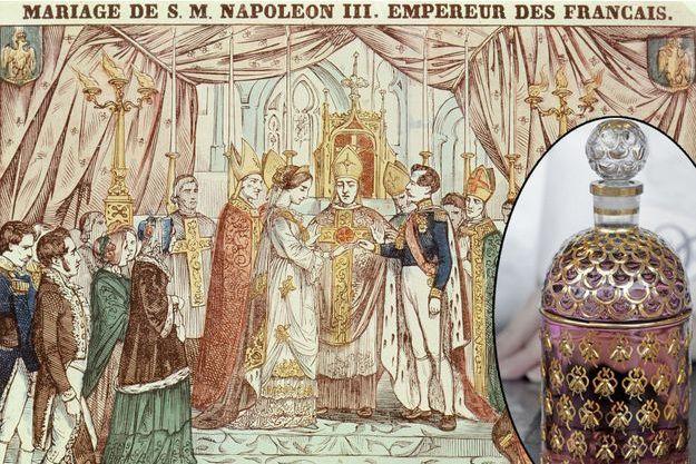 Gravure figurant le mariage religieux de l'empereur Napoléon III et de l'impératrice Eugénie, le 30 janvier 1853 - En médaillon : la Flacon aux Abeilles de la maison Guerlain